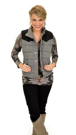 Tweed Puffer Vest, Black