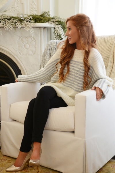 Metallic Stripes Sweater, Ivory