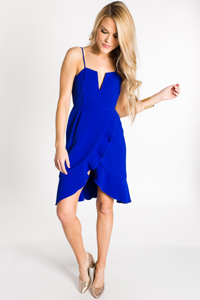Wrapped in Ruffle Dress, Cobalt