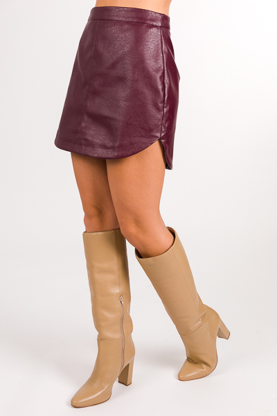 Rounded Leather Skirt, Burgundy