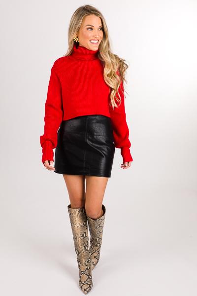 Cross Me Leather Skirt, Black