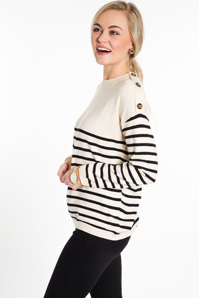 All Buttoned Up Stripe Sweater