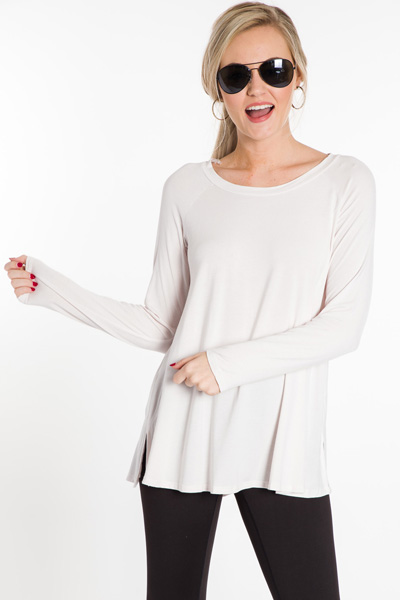 Bamboo Scoop Tunic, Dove