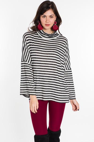 Striped Turtleneck, Black