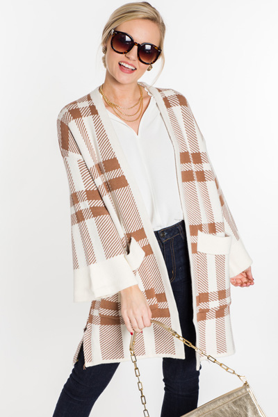 Begin Again Plaid Cardi, Mocha