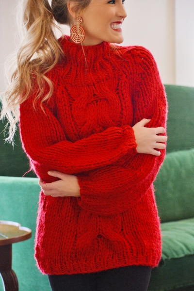 Chunky Cable Sweater, Red