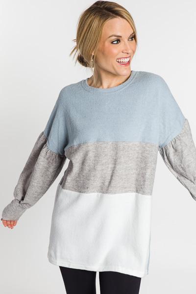 Colorblock Bubble Sleeve Sweatshirt