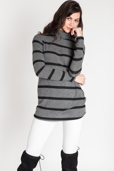 Soft Touch Striped Turtleneck