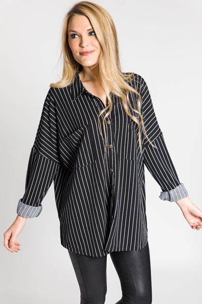 Stretchy Stripe Button Down, Black