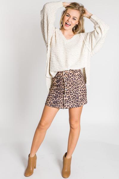 Suede Button Skirt, Leopard