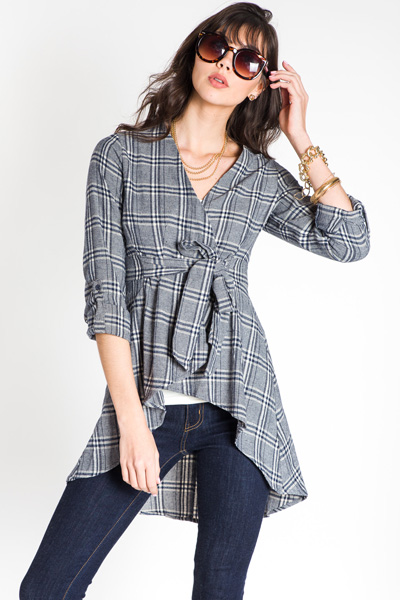 Plaid Topper, Navy