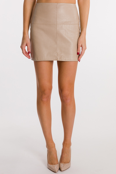 Cross Me Leather Skirt, Taupe
