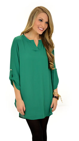 Simply Solid Tunic, Green