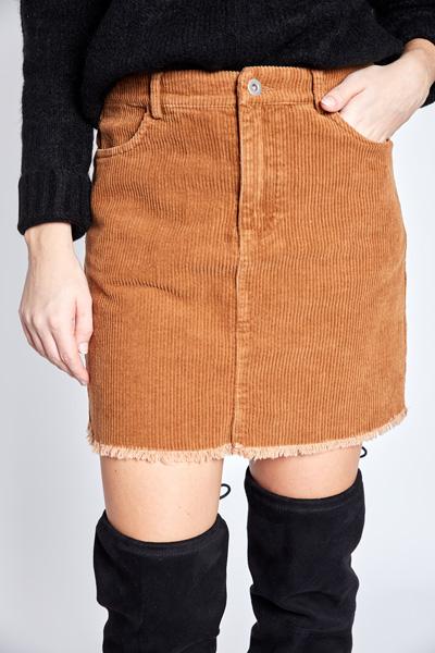 Frayed Corduroy Skirt