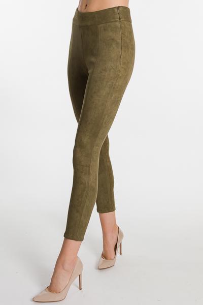 Suede Slim Leg Pants, Olive