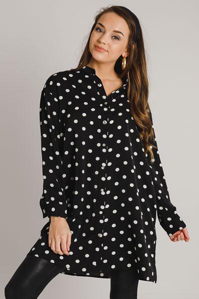Polka Dot Button Dress, Black