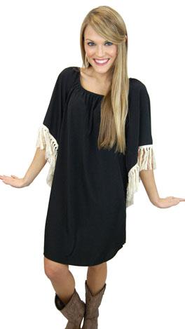 Fringe Benefits Dress, Black