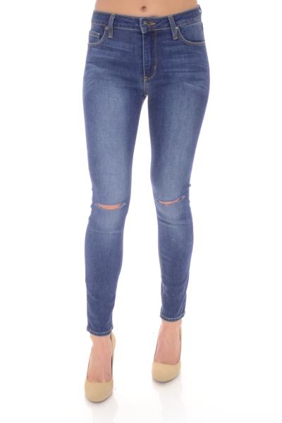 Overdye Knee Slit Jeans, Medium Denim
