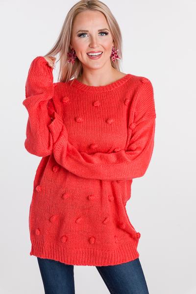 Coral Pom Poms Sweater
