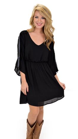 Spunky Sleeves Dress, Black