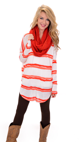 Oasis Tunic Tee, Red Stripes