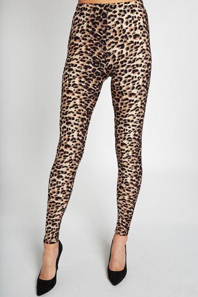 Animal Print Leggings, Tan