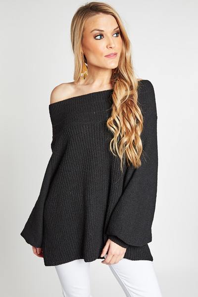 Slouchy Open Weave Top, Black
