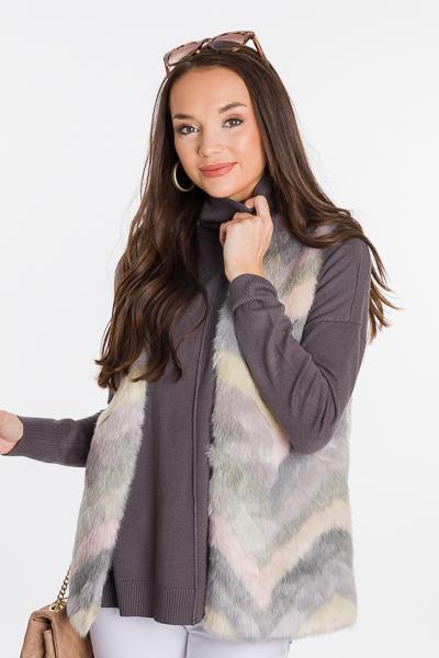 Faux Fur Multi Color Vest