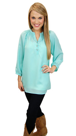 Here To Stay-ple Blouse, Mint