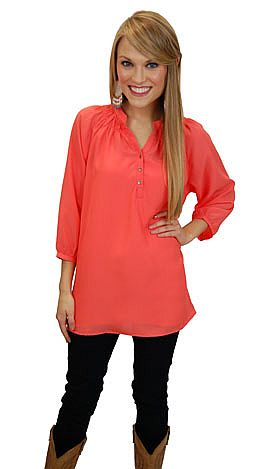 Here To Stay-ple Blouse, Coral