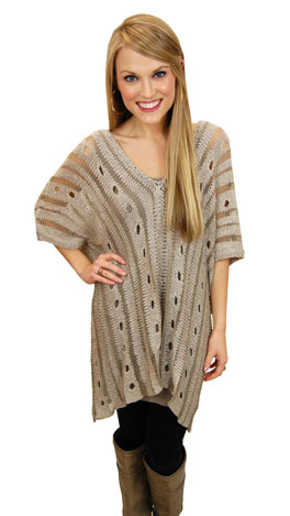 Holed On Sweater, Taupe