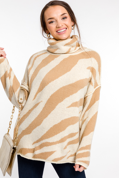 Zebra Turtleneck Sweater, Camel