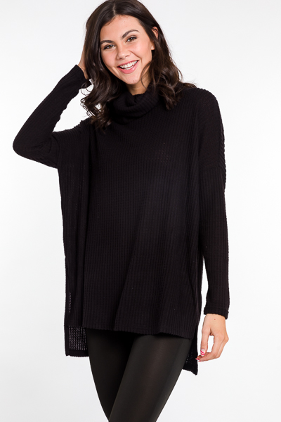 Cowl Thermal Tunic, Black