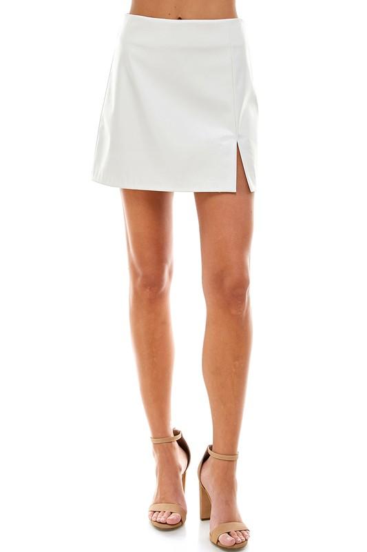 Leather Front Slit Skirt, White