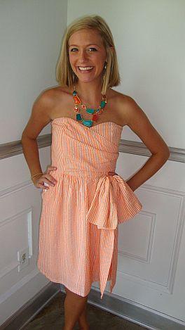 Judith March-Orange Seersucker Dress