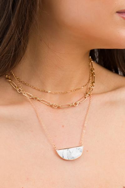 Half Moon Marble Necklace