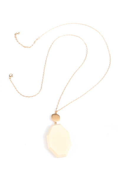 3D Octagon Wood Necklace, Ivory