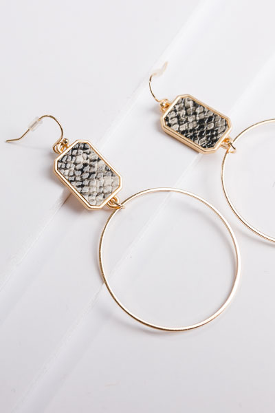Grey Snake Earrings