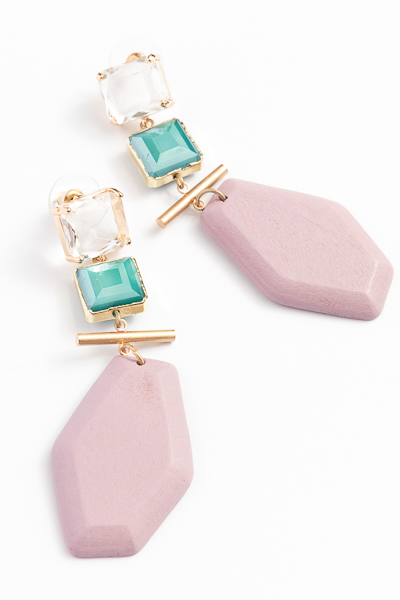Square and Hexagon Earrings, Rose