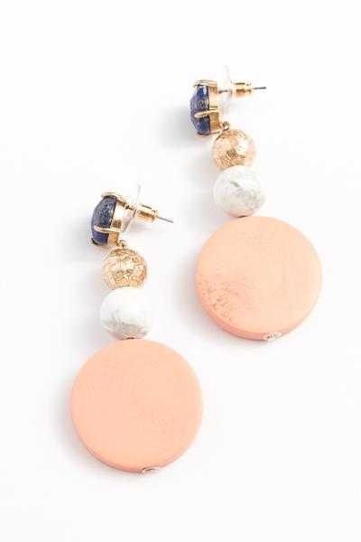 Stone and Wood Earrings, Peach