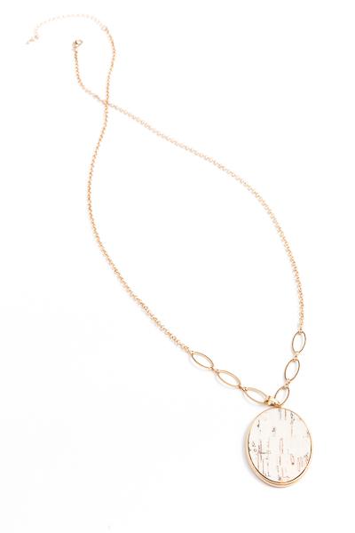 Cork Oval Long Necklace, White