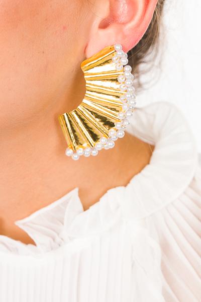 Abanico Earring, Pearl