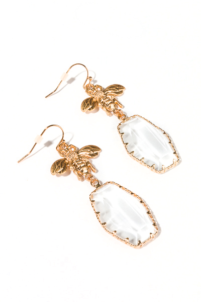 Glass Bee Earring