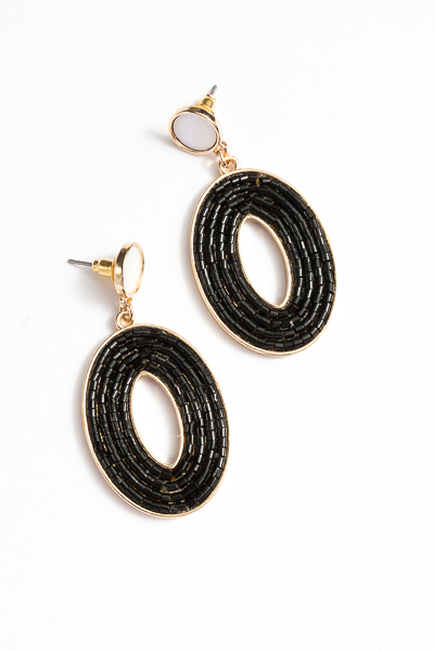 Beaded Oval Earrings, Black