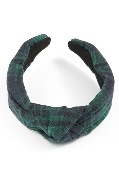 Patterned Knotted Headband, Green
