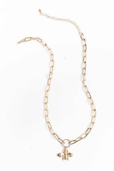 Bee & Chain Necklace, Gold