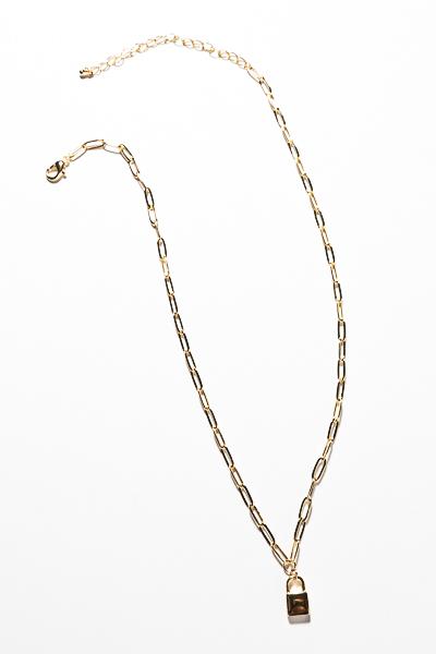 Mini Padlock Necklace, Gold