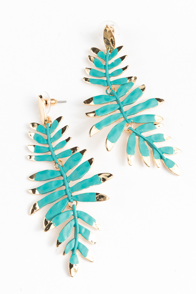 Color Coated Leaf Earring, Turquoise