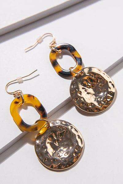 Hammered Coin Tortoise Earrings
