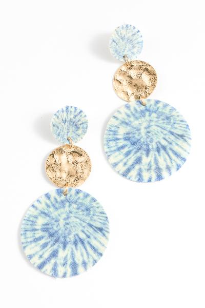 Tie Dye Leather Discs, Blue